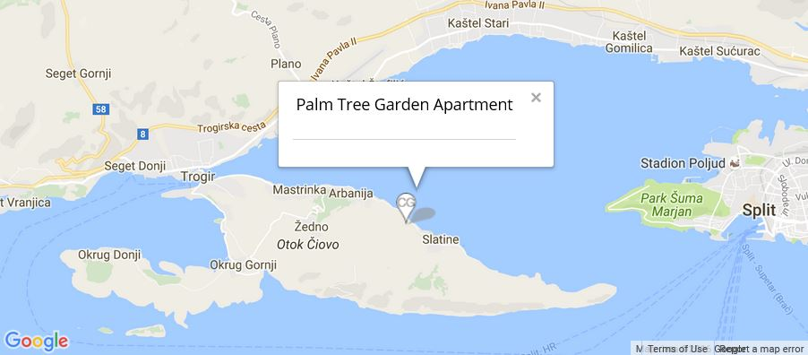 Palm Tree Garden Apartment Map, Slatine Bay, Split Riviera