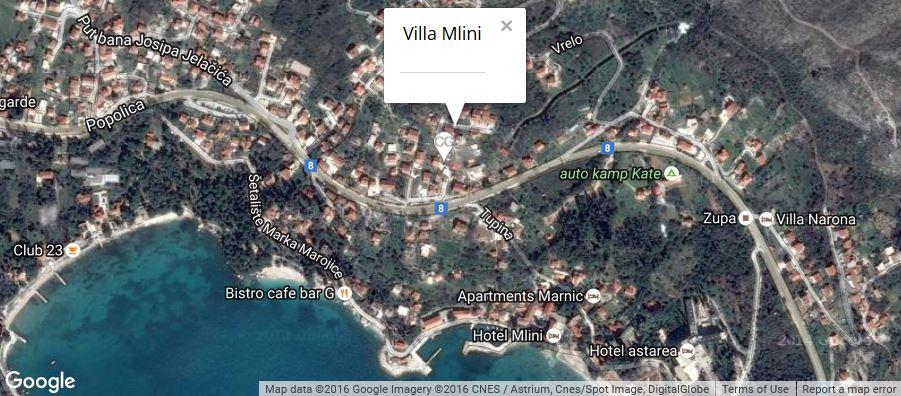 Villa Mlini Map, Mlini Bay, Dubrovnik Riviera