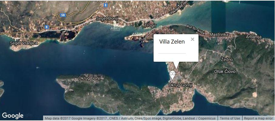 Villa Zelen Map, Okrug Gornji, Ciovo, Split Riviera