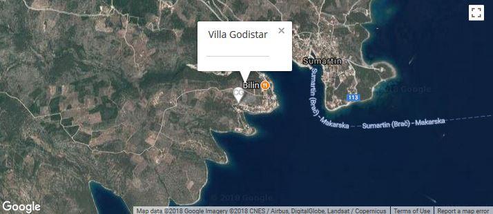 Villa Godistar Maps, Sumartin Bay, Brac Island