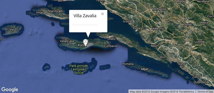 Villa Zavalia Map, Zavalatica Bay, Korcula Island