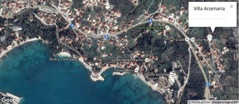 Villa Anamaria Map, Mlini Bay, Dubrovnik Riviera
