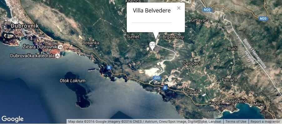 Villa Belvedere Map, Gornji Brgat, Dubrovnik Riviera
