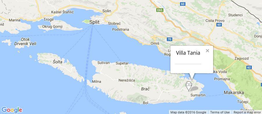Villa Tania Map, Selca, Sumartin Bay, Brac Island
