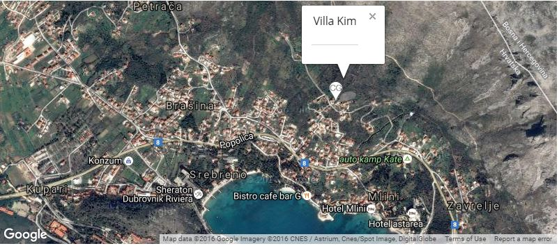 Villa Kim (Pool House) Map, Mlini Bay, Dubrovnik Riviera