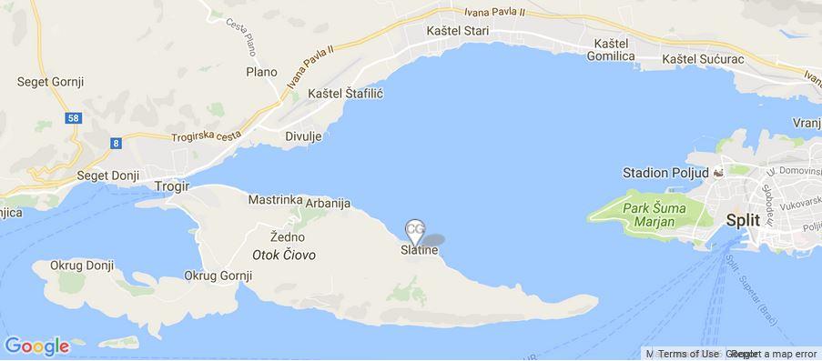 Villa Salamander Map, Slatine Bay, Split Riviera