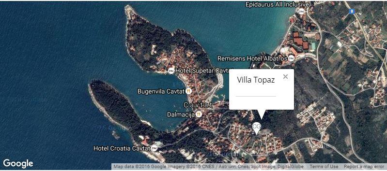 Villa Topaz Map, Cavtat Bay, Dubrovnik Riviera