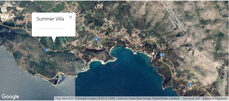 Summer Villa Map, Mlini Bay, Dubrovnik Riviera