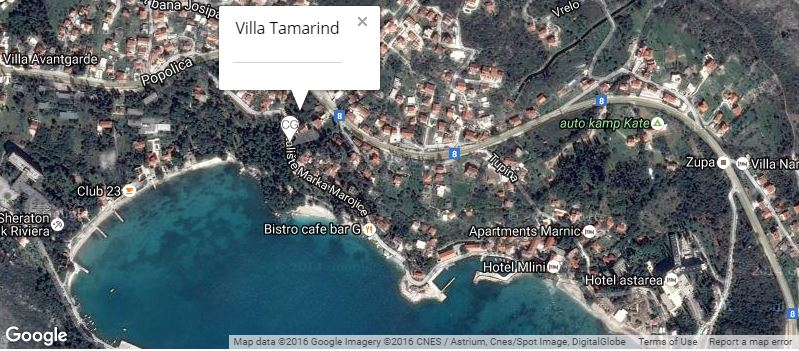 Villa Tamarind Map, Mlini Bay, Dubrovnik Riviera