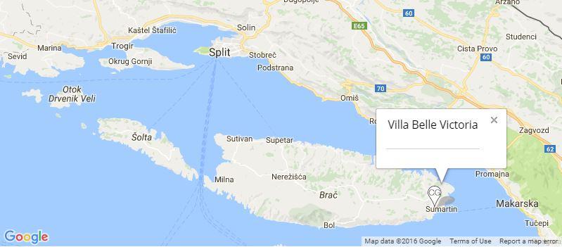 Villa Belle Victoria Map, Sumartin Bay, Brac Island