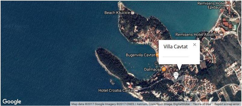 Villa Cavtat Map, Cavtat Bay, Dubrovnik Riviera