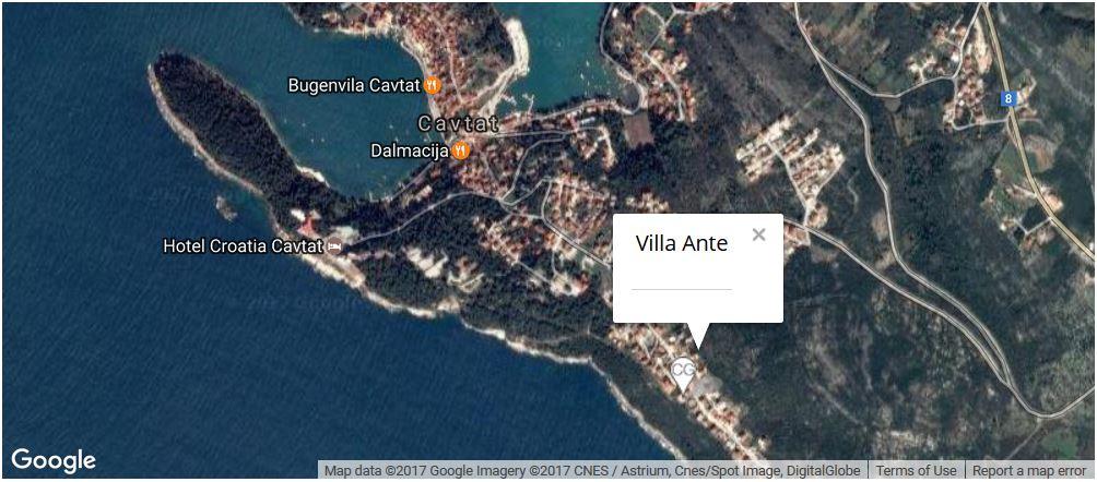 Villa Ante Map, Cavtat Bay, Dubrovnik Riviera