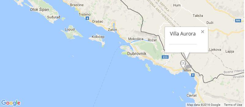 Villa Aurora Map, Mlini, Dubrovnik Riviera