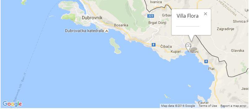 Villa Flora Map, Mlini, Dubrovnik Riviera