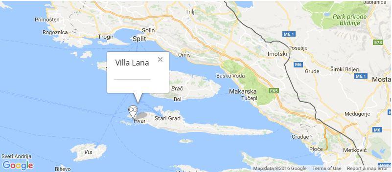 Villa Lana Map, Hvar Town, Hvar Island