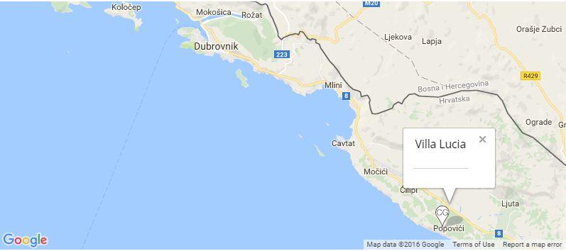 Villa Lucia Map, Konavle, Dubrovnik Riviera
