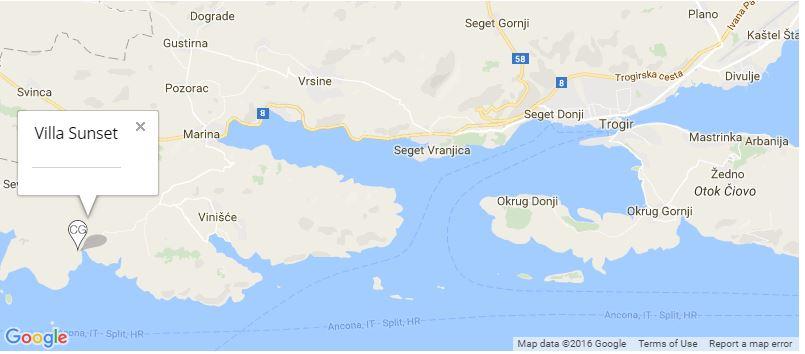 Villa Sunset Map, Vinisce Bay, Trogir, Split Riviera