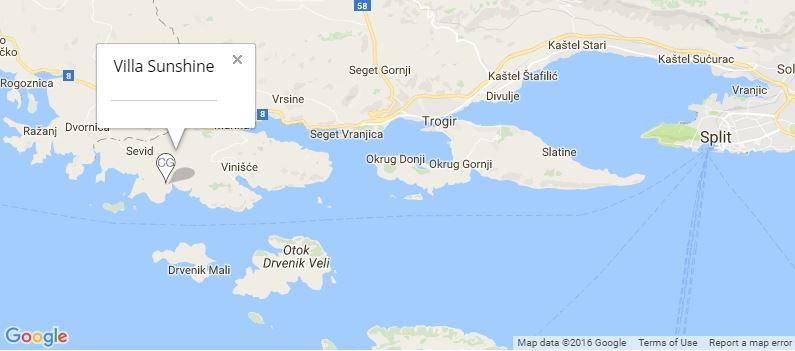 Villa Sunshine Map, Vinisce Bay, Trogir, Split Riviera