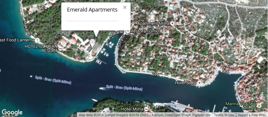 Emerald Apartments Map, Milna Bay, Brac Island