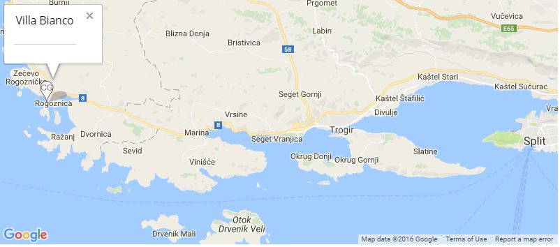 Villa Bianco Map, Rogoznica, Near Primosten, Split Riviera