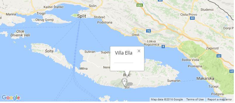 Villa Ella Map, Bol Town, Brac Island