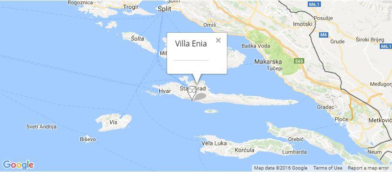 Villa Enia Map, Ivan Dolac, Splitska, Hvar Island