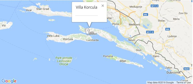 Villa Korcula Map, Korcula Town, Korcula Island
