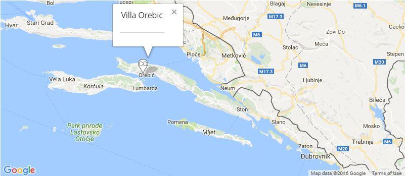 Villa Orebic Map, Orebic, Peljesac Peninsula