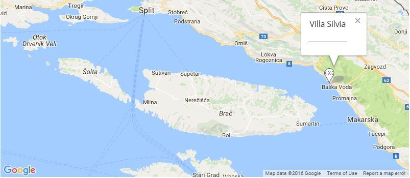 Villa Silvia Map, Baska Voda, Makarska Riviera