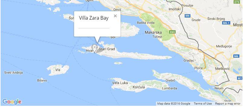 Villa Zara Bay Map, near Hvar Town, Hvar Island