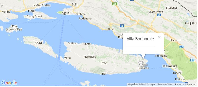 Villa Bonhomie Map, Sumartin, Island of Brac