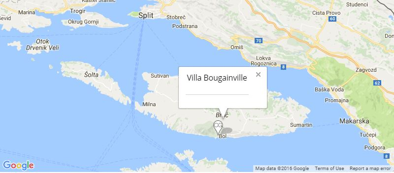 Villa Bougainville Map, Bol, Brac Island