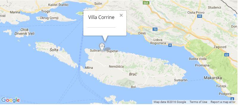 Villa Corrine Map, Mirca, Brac Island