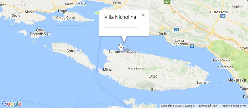 Villa Nicholina Map, Mirca, Brac Island
