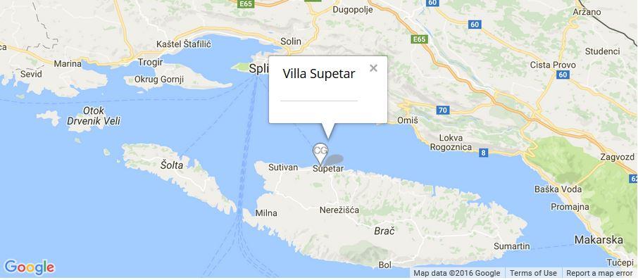 Villa Supetar Map, Supetar, Brac Island