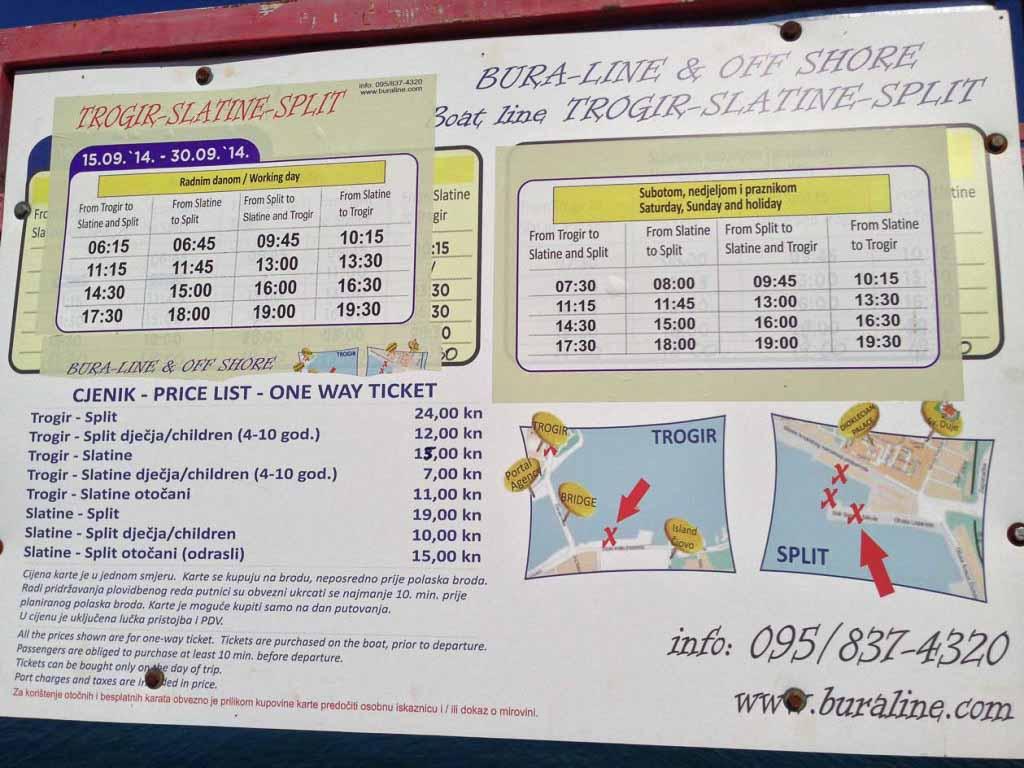 Water Taxi Timetable for Trogir, Slatine, Split (5)