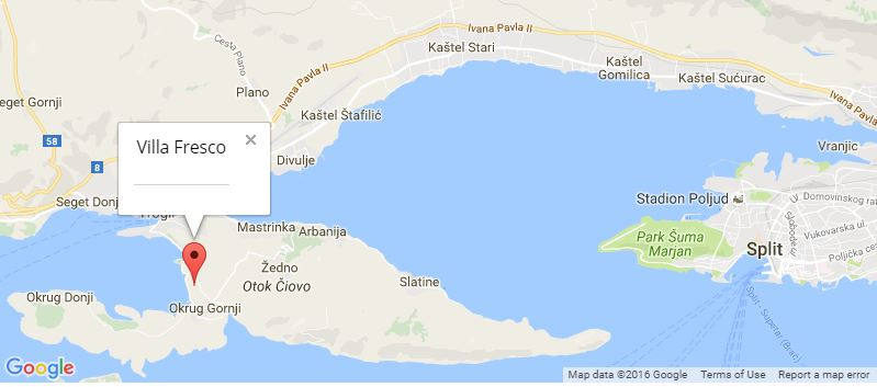 Villa Fresco Map, Okrug Gornji, Trogir, Split Riviera