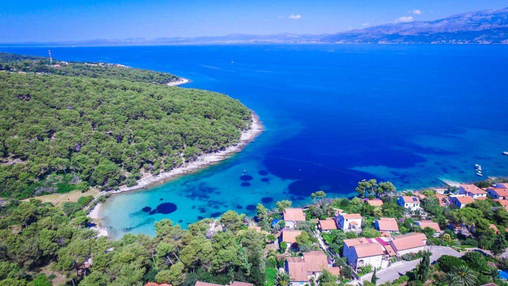 postira-beach-splitska-beach-brac-island Aerial