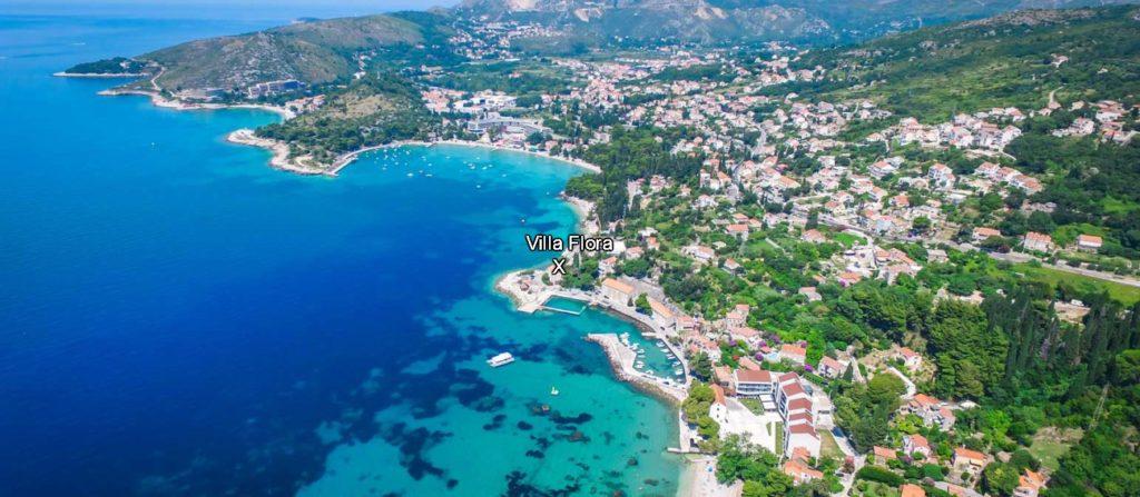 Villa Flora Location, Mlini Bay, Dubrovnik Riviera Aerial