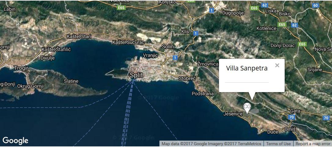 Villa Sanpetra Map, Podstrana, Split Riviera