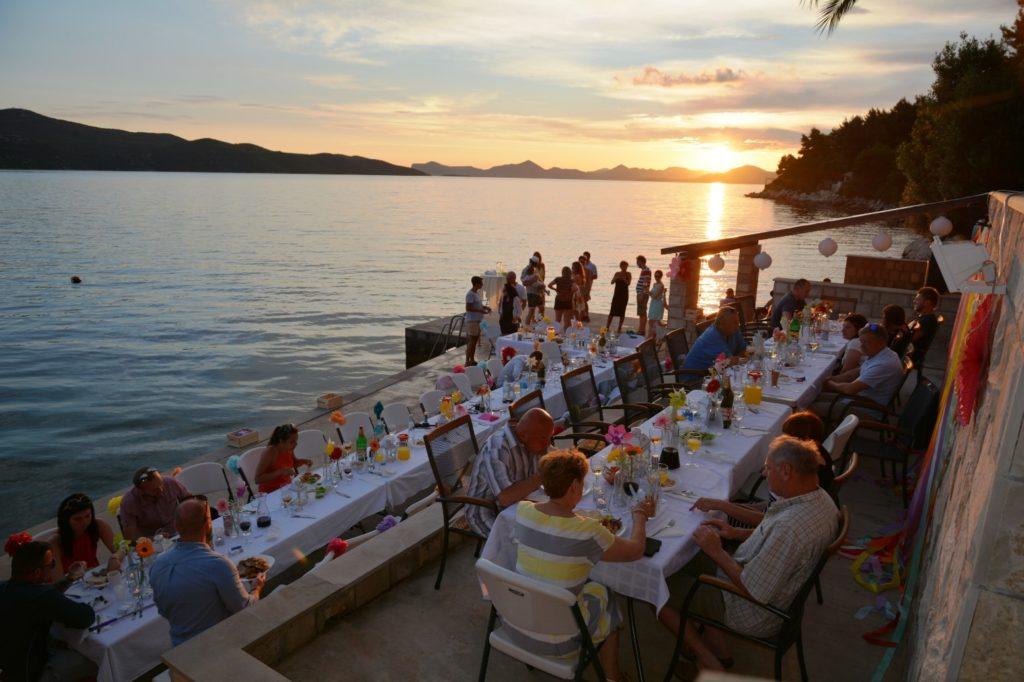 Villa Slano, Slano Bay, Dubrovnik Riviera - wedding reception evening